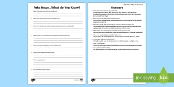 Fake News What Do You Know Activity Sheet - Fake News, news, fake, scam, propaganda, facebook, social media, twitter, worksheet, hoax,