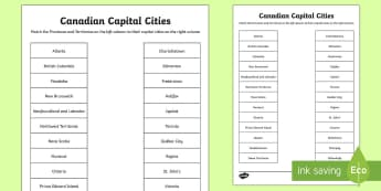 Canadian Capital Cities Matching Activity Sheet - Canada's 150th Birthday, Canada, geography, capitals, capital city, capital cities, province, terri