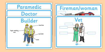 People Who Help Us Labelling Worksheets - people who help us, people who help us equipment, people who help us equipment labelling worksheet, equipment