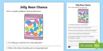 Year 2 Jelly Bean Chance Activity Sheet - Australian Curriculum Statistics and Probability, Year 2, statistics and probability, Worksheet, cha