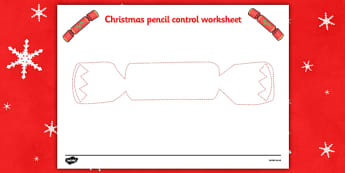 Christmas Pencil Control Worksheets (Cracker) - Christmas, xmas, pencil control, Handwriting, tracing lines, lines, pencil contol, line guide, fine motor skills, Handwriting, Writing aid, Learning to write, tree, advent, nativity, santa, father chris