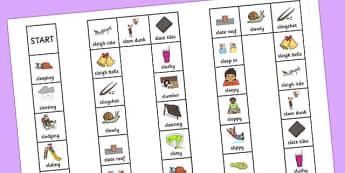Two Syllable SL Sound Board Game - sen, sound, sl sound, sl, sen, two syllable, board game