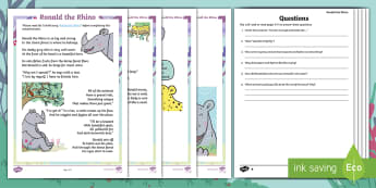 Year 2 Ronald the Rhino Differentiated Reading Comprehension Activity - children's books, Ronald, Ronald the Rhino, story, jungle, friendship, unique, leopard, python, spe