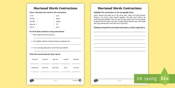 Shortened Words Activity Sheet - ROI, Shortened words, grammar, Jolly Grammar, contractions, spag, spelling, grammar, punctuation, Ir