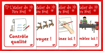 Santa's Workshop Work Signs French - french, santas workshop, work, signs, santa, workshop