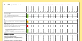 Geography Assessment Class Checklist Years 1-2 - geography, assessment, class, checklist, year 1, year 2