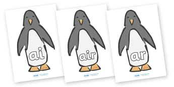 Phase 3 Phonemes on Penguins - Penguin, winter, Phonemes, phoneme, Phase 3, Phase three, Foundation, Literacy, Letters and Sounds, Alphabet, A-Z letters, Alphabet flashcards, letters and sounds, DfES, display