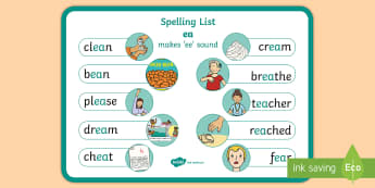 Spelling ea Words Display Poster - CfE Outdoor Learning, nature, forest, woodland, playground, spelling, tricky words, sounds, ,Scottis