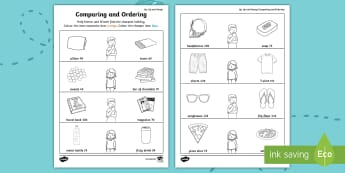 Up, Up and Away! Comparing and Ordering Activity Sheet - ROI, Exploring our world, aistear, airport, travel, story, comparing and ordering, worksheet, airpor