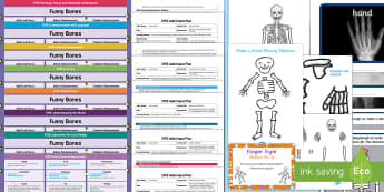 EYFS Lesson Plan, Enhancement Ideas and Resources Pack to Support Teaching on Funnybones - planning, Early Years, continuous provision, early years planning, adult led, Funnybones, Funny Bones, Janet and Allan Ahlberg, skeletons, Halloween