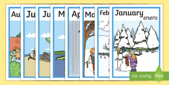 Months Of The Year Seasons Display Posters English/Spanish - month, year, season, weather, waether, months of the yearenglish, WHEATHER, seaons, wetaher, weaher,