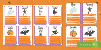 Halloween Character Top Card Game English/Afrikaans - October, celebration, pumpkin, ghost, play, EAL