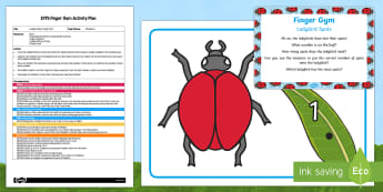EYFS Ladybird Spots Finger Gym Plan and Resource Pack - Minibeasts, counting, Early Years, planning, funky fingers, fine motor skills, Physical Development