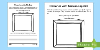 F-2 Memories with My Dad: Recount Writing Activity Sheet - worksheet, Father's Day, Activity, Writing, Recount, Foundation, Yr 1, Yr 2,Australia