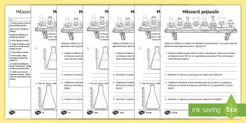 Măsoară poțiunile Fișe de lucru - capacitate, unități de măsură, măsoară, cm, m, km, lungime, mai mare, mai mic, compară, ordon