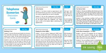 Telephone Scenarios Discussion Cards - Oral, Language, Phone, situation, Irish, Aistear,