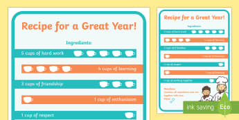 Recipe for a Great Year A4 Display Poster - End of Year,Back to School, Australia,back to school,display,recipe,motivation, Australia