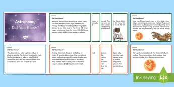 Australia Astronomy Science Did You Know Fact Cards - Australia Science, astronomy, earth science, year 5, year 6, science, fact cards, information, facts