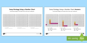 Differentiated Jump Strategy Using a Number Chart Activity Sheets - Mathematics, Year 1, Number and Algebra, Number and place value, ACMNA015, ACMNA030, jump strategy,