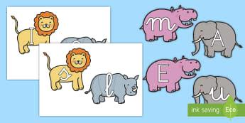 Tarjetas de fonemas: La jungla - La jungla, trans-curricular, animales, salvajes, mono, elefante, hipopótamo, guepardo, cocodrilo, c