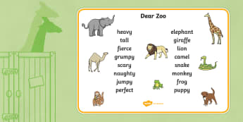 Word Mat to Support Teaching on Dear Zoo - dear zoo, word mat, keywords, key word mat