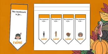 Thanksgiving Editable Bookmarks - thanksgiving, editable bookmarks, bookmarks, reading, template, books, book, reward, achievement, fill in