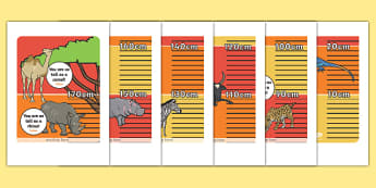 Safari Animal Height Chart Display Poster