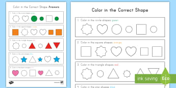 Color in the Correct Shape Recognition Activity Sheet - Common Core Math, identifying shapes, coloring, geometry, worksheet