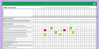 2014 Curriculum UKS2 Years English Reading Assessment Spreadsheet