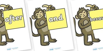 Connectives on Monkeys - Connectives, VCOP, connective resources, connectives display words, connective displays