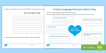 A Scots Language Poem for Father's Day Activity Sheet- - CfE Father's Day June 18th, Scottish, Scotland, events, creating texts, writing, dialect,Scottish