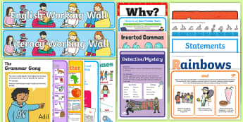 Y2 English Working Wall Display Pack - Literacy, Year 2, KS1, Writing, complete display, full display, learning, prompts