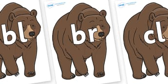 Initial Letter Blends on Bear - Initial Letters, initial letter, letter blend, letter blends, consonant, consonants, digraph, trigraph, literacy, alphabet, letters, foundation stage literacy