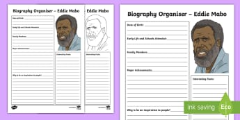 National Reconciliation Week Eddie Mabo Biography Activity Sheet - Australia English National Reconciliation Week 27 May - 3 June, worksheet, Year 3, Year 4, Year 5, Y