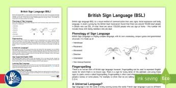 British Sign Language Information Guide - Deaf, hearing impairment, signing, BSL, ToD, SSE, sign supported english, phonology