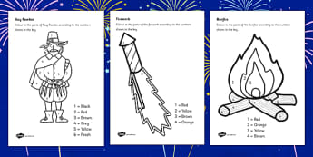 Bonfire Night Colour by Number - colour in, colouring, festival