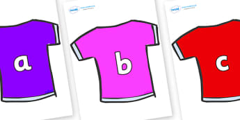 Phase 2 Phonemes on T-Shirts - Phonemes, phoneme, Phase 2, Phase two, Foundation, Literacy, Letters and Sounds, DfES, display