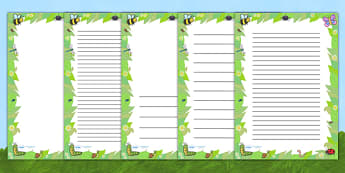 Mini Beast Page Borders - writing templates, writing border