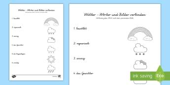 Wetter: Wörter und Bilder verbinden Arbeitsblatt - Wetter, Regen, Gewitter, Schnee, Sonnenschein, Regenbogen,  Schnee, Sonne, Wolke, bewölkt,German