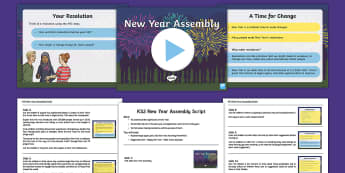 KS2 New Year Assembly Pack - KS2 New Year Assembly pack, New Year assembly, KS2 assembly, new year resolutions, new year celebrat