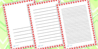 Red Handprint Page Borders - writing templates, writing frames