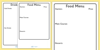 Menu Template For Kids - editable, editable menu, editable writing frame, writing frame, page borders, writing template, writing aid, list, fill in, cuisine, food and drink, roleplay, restaurant