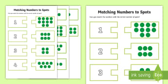Matching Numbers to Spots Activity - Maths in ECE, counting, numbers, recognition, puzzles, symbols, number recognition, numbers to 10