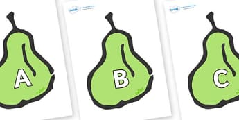 A-Z Alphabet on Pears - A-Z, A4, display, Alphabet frieze, Display letters, Letter posters, A-Z letters, Alphabet flashcards