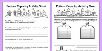 Potions Capacity Activity Sheet - potions, capacity, activity, sheets, worksheet
