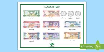 النقود في الإمارات - النسخة العربية  - الإمارات، النقود، نقود، عملة، العملة، المال، حساب، عر