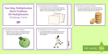 KS2 Two-Step Multiplication Word Problems All Multiplication Maths Challenge Cards - KS2, Maths, Solve problems, including missing number problems, involving multiplication and division