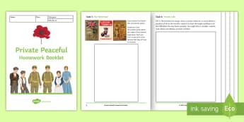 'Private Peaceful' Homework Booklet - homework booklet, private peaceful, Charlie, Tommo, Molly, KS3 literature