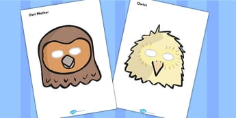 Owl Babies Role Play Masks - Owl Babies, Martin Waddell,  story, story book, story book resources, story sequencing, story resources, owl, family, PSHE, PSE, living things, role play mask, role play