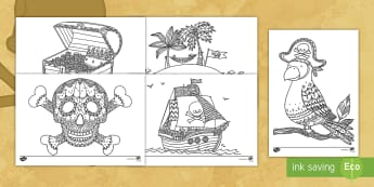 Pirates-Themed Coloring Activity - color, coloring, pirates, art, activity